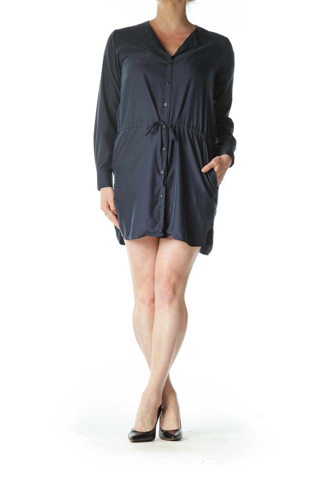 Navy Blue Long Sleeve Drawstring Shirt Dress