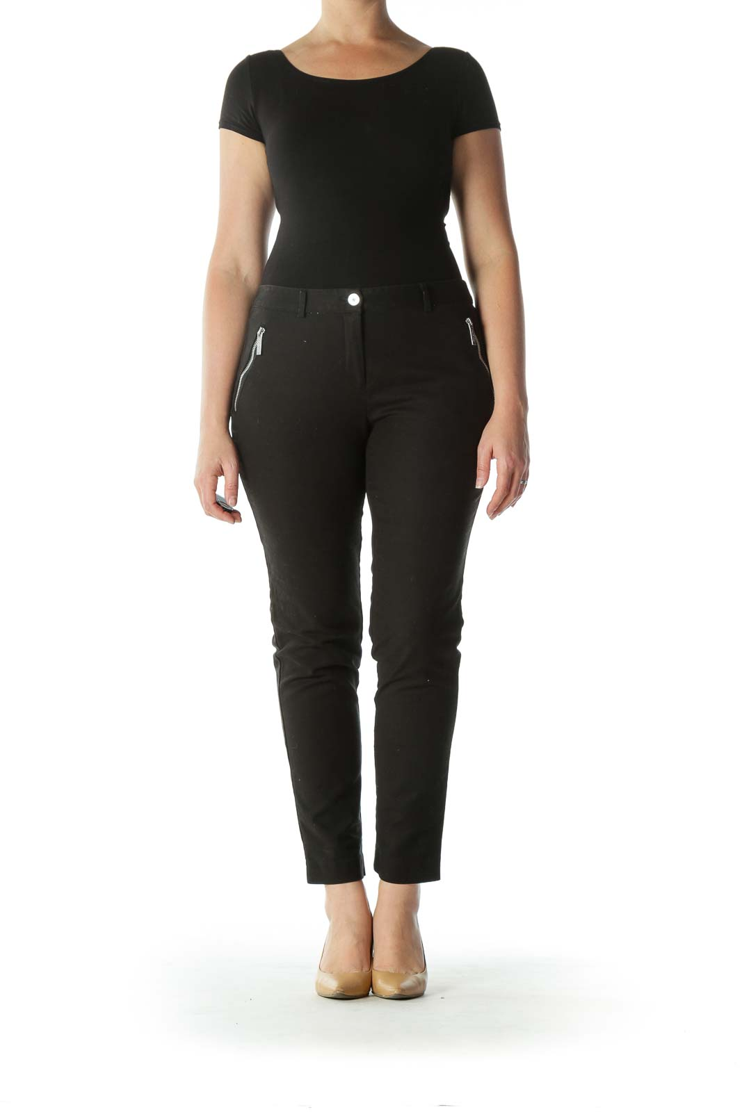 Black Zippered Pocket Slim-Fit Pants