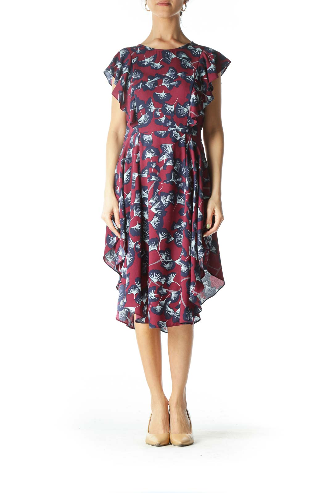 Burgundy Floral Day Dress