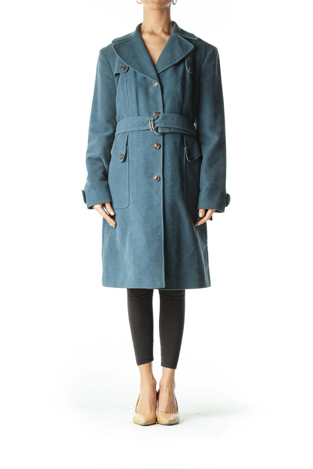 Blue Belted  Knee-Length Trench Coat