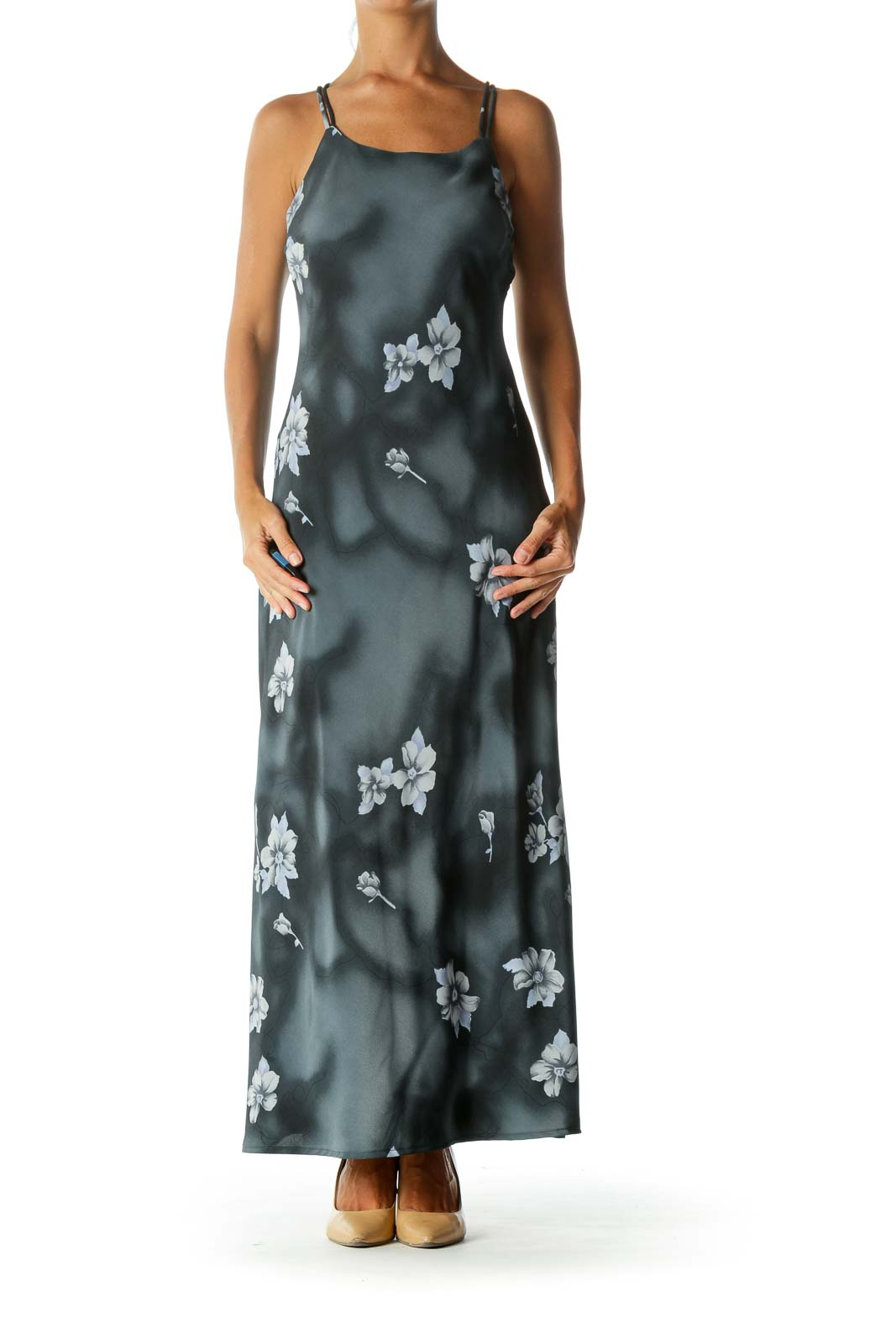 93af4848212 Shop Navy Floral Spaghetti Strap Back-Detail Maxi Dress clothing and ...