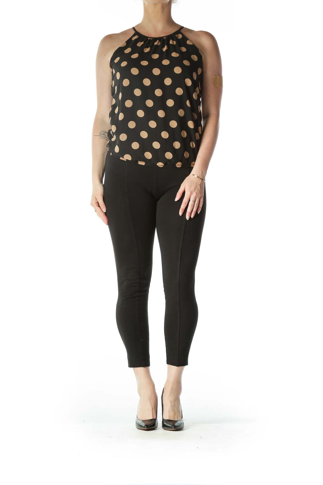 Black and Gold Polk-Dot Spaghetti Strap Blouse
