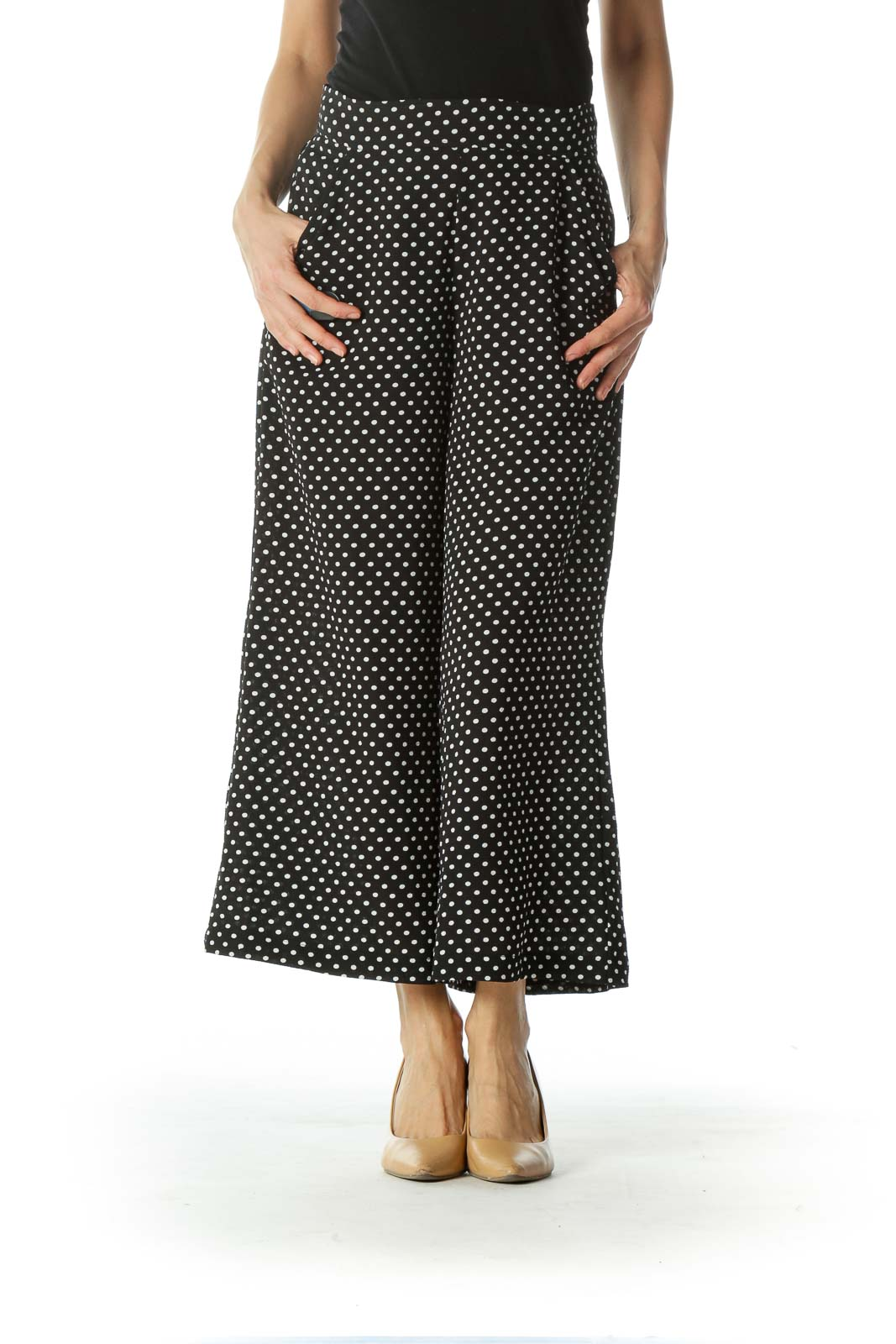 Black Polka-Dotted Wide-Leg Cropped Pant with Waist TIe