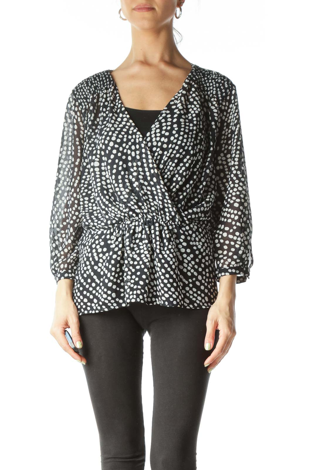 Black and White Polk- Dot Sheer V-Neck Blouse
