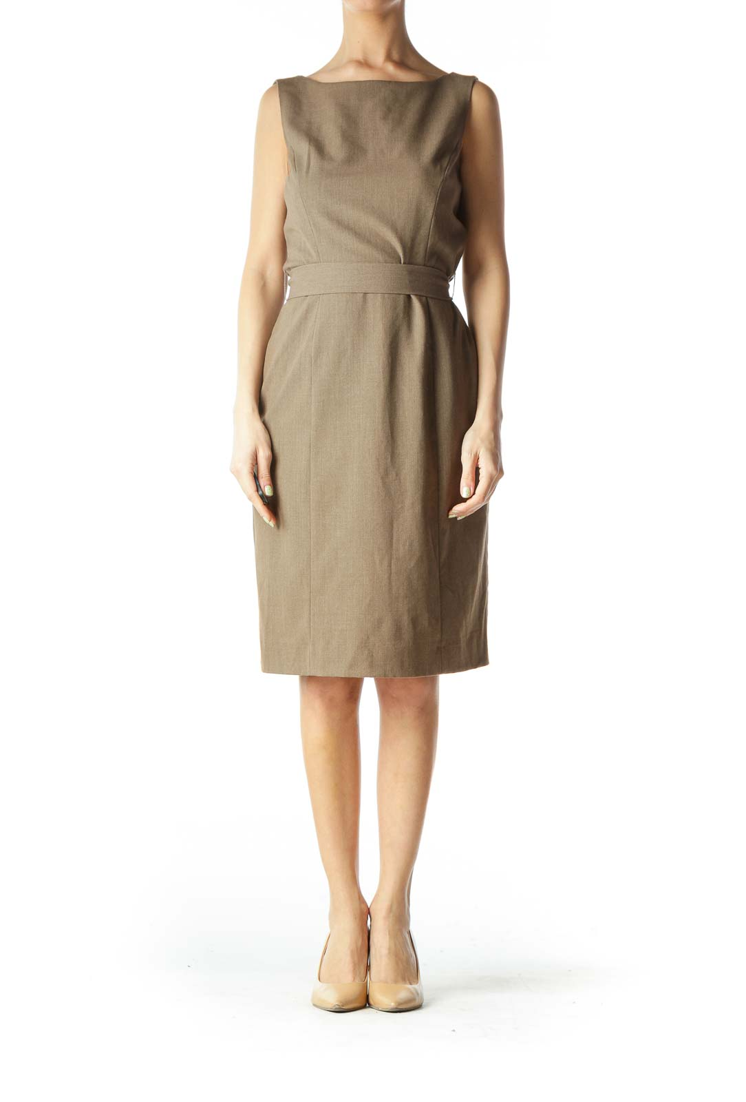 Brown Back-Tie Shift-Neck Structured Work Dress