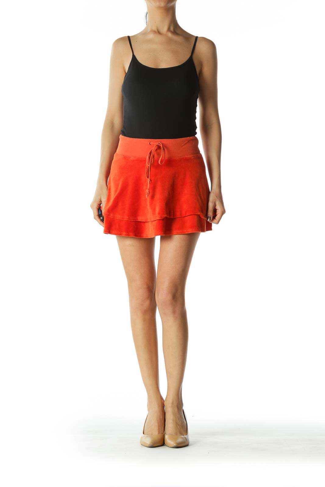 Orange Flared Mini Skirt