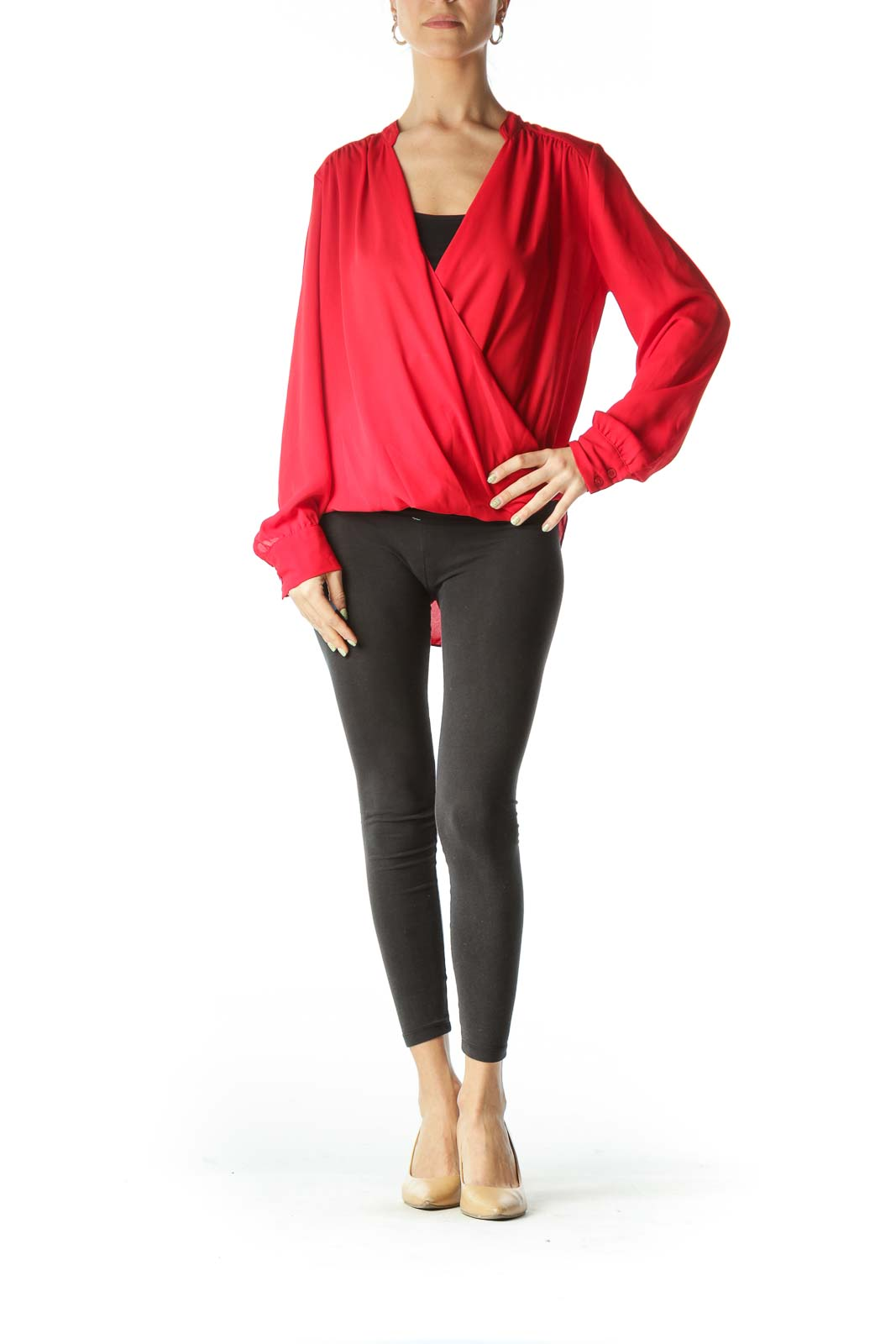 Red Sheer Draped Long Sleeve Blouse