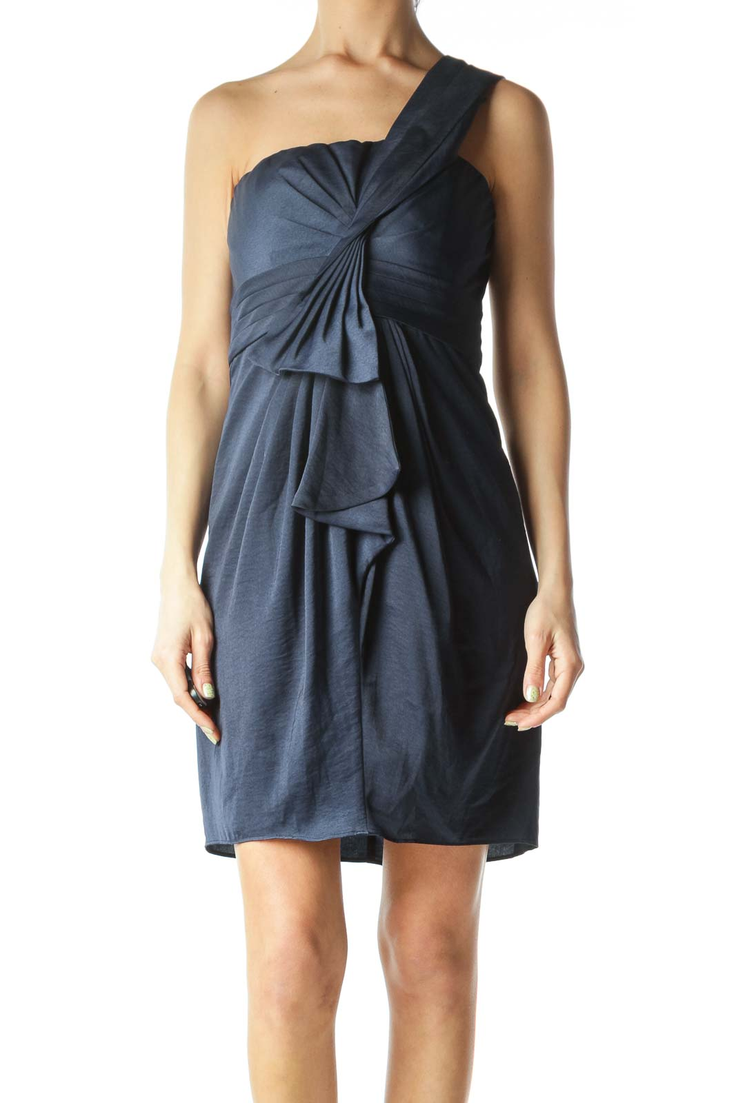 Navy Blue Shoulder-Strap Ruffle-Detail Cocktail Dress
