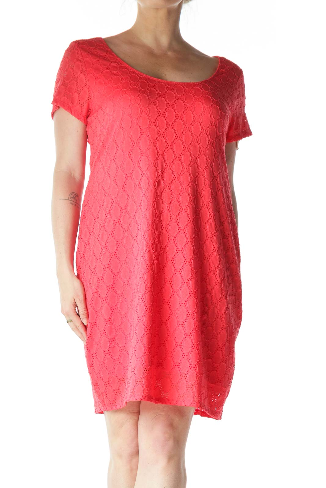 Pink Embossed T-Shirt Dress