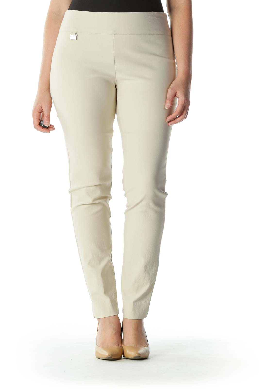 Beige Mid Rise Stretchy Skinny Pants
