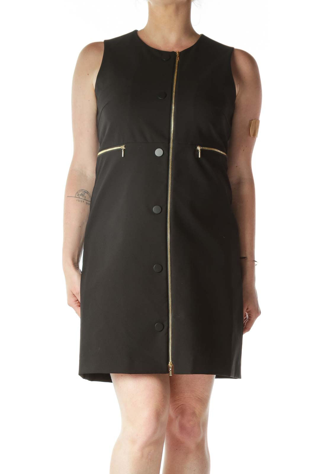 Black Matte-Buttoned Gold-Zipper Work Dress