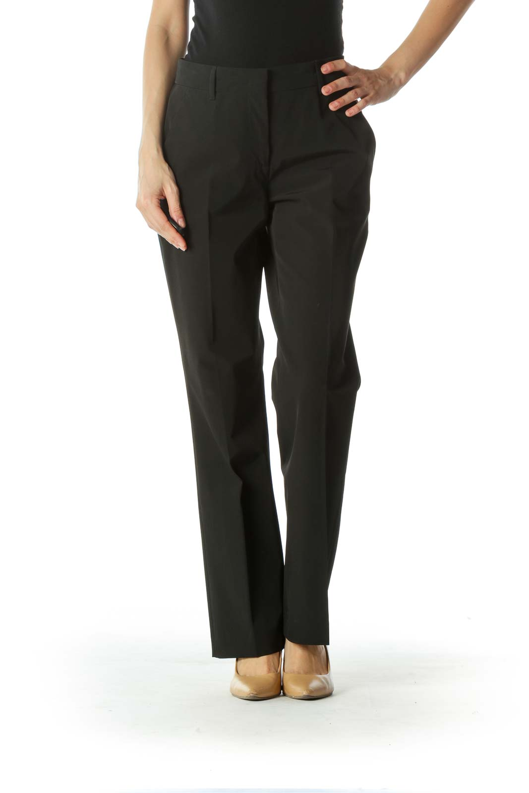 Black Designer Mid-Rise Dress Pant