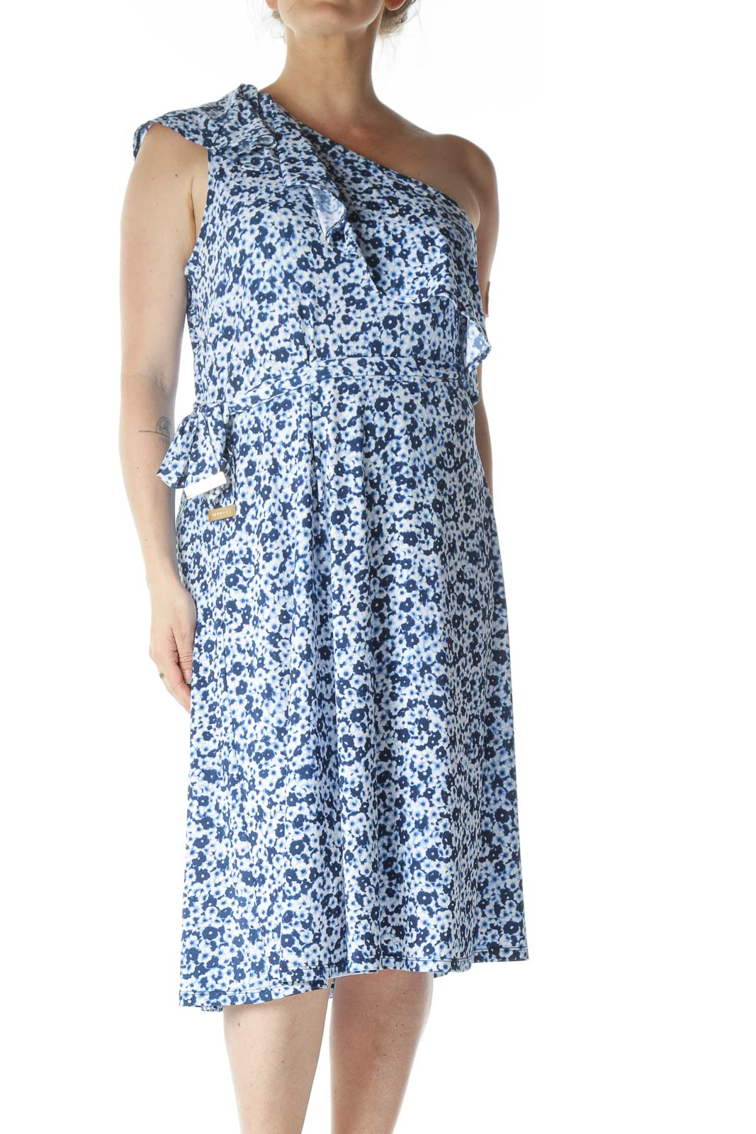 Blue Floral Print One Shoulder Dress