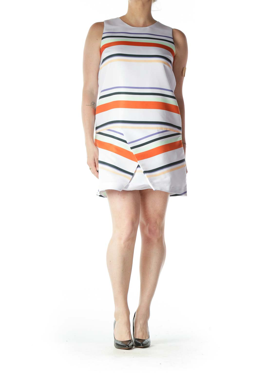 Multicolored Striped Structured Shift Dress