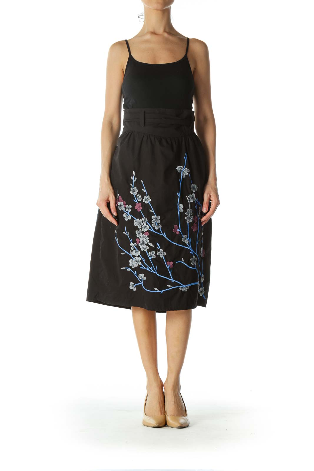 Black Floral-Embroidered Skirt