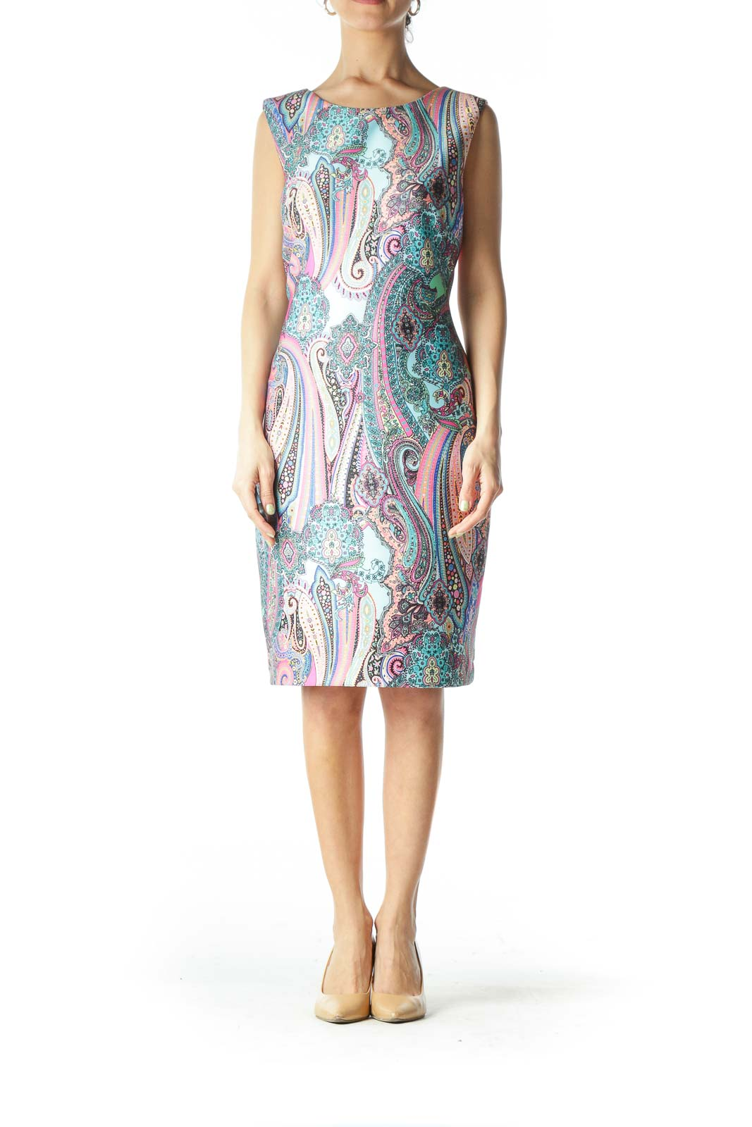 Multicolor Paisley Structured Work Dress