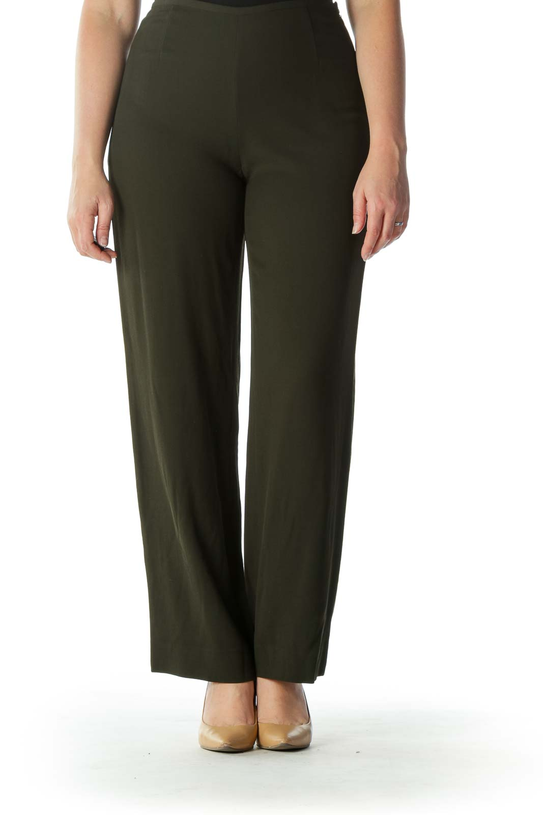 Army Green High-Waisted Designer Pant