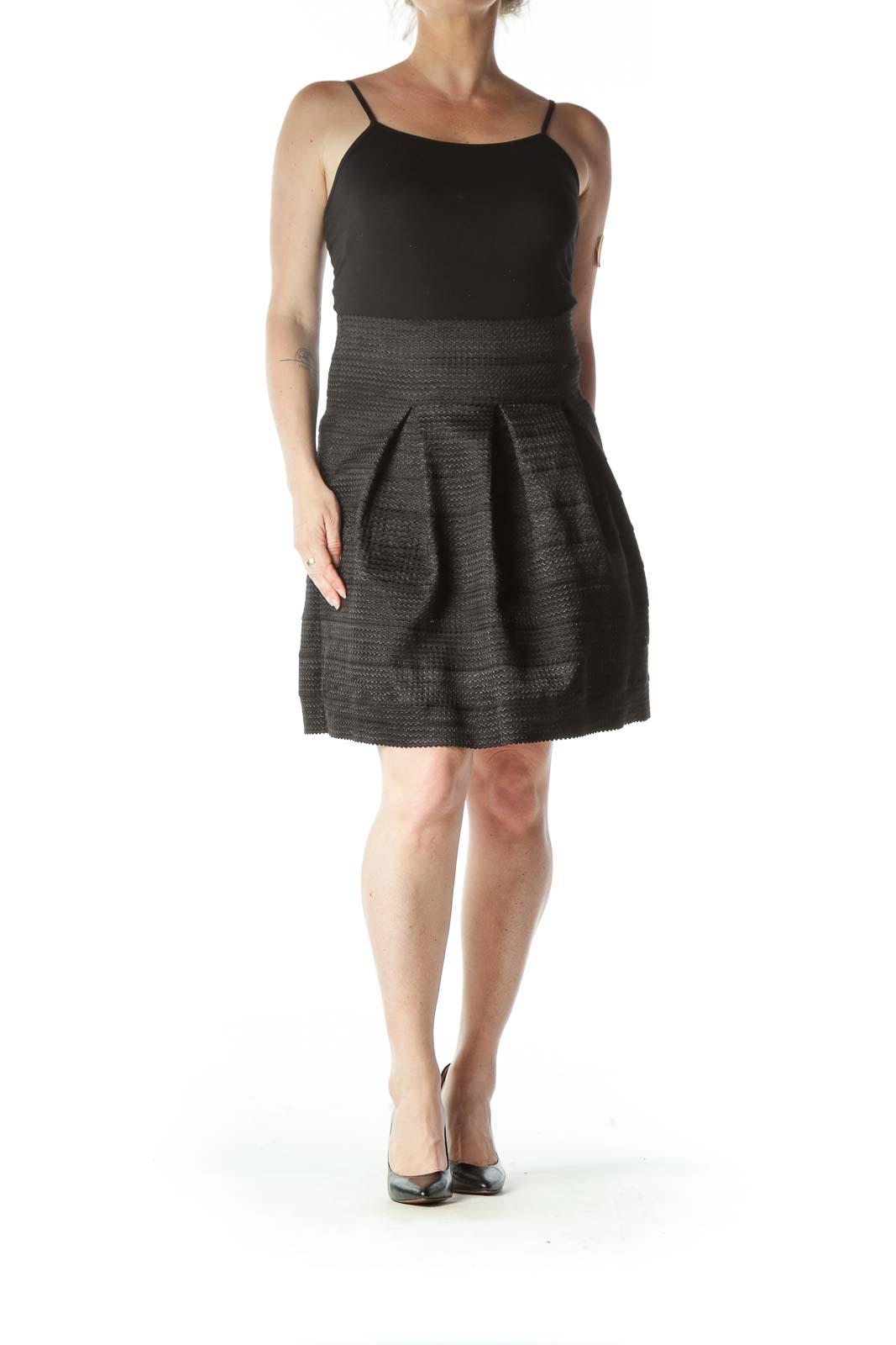 Black Pleated Flared Skirt