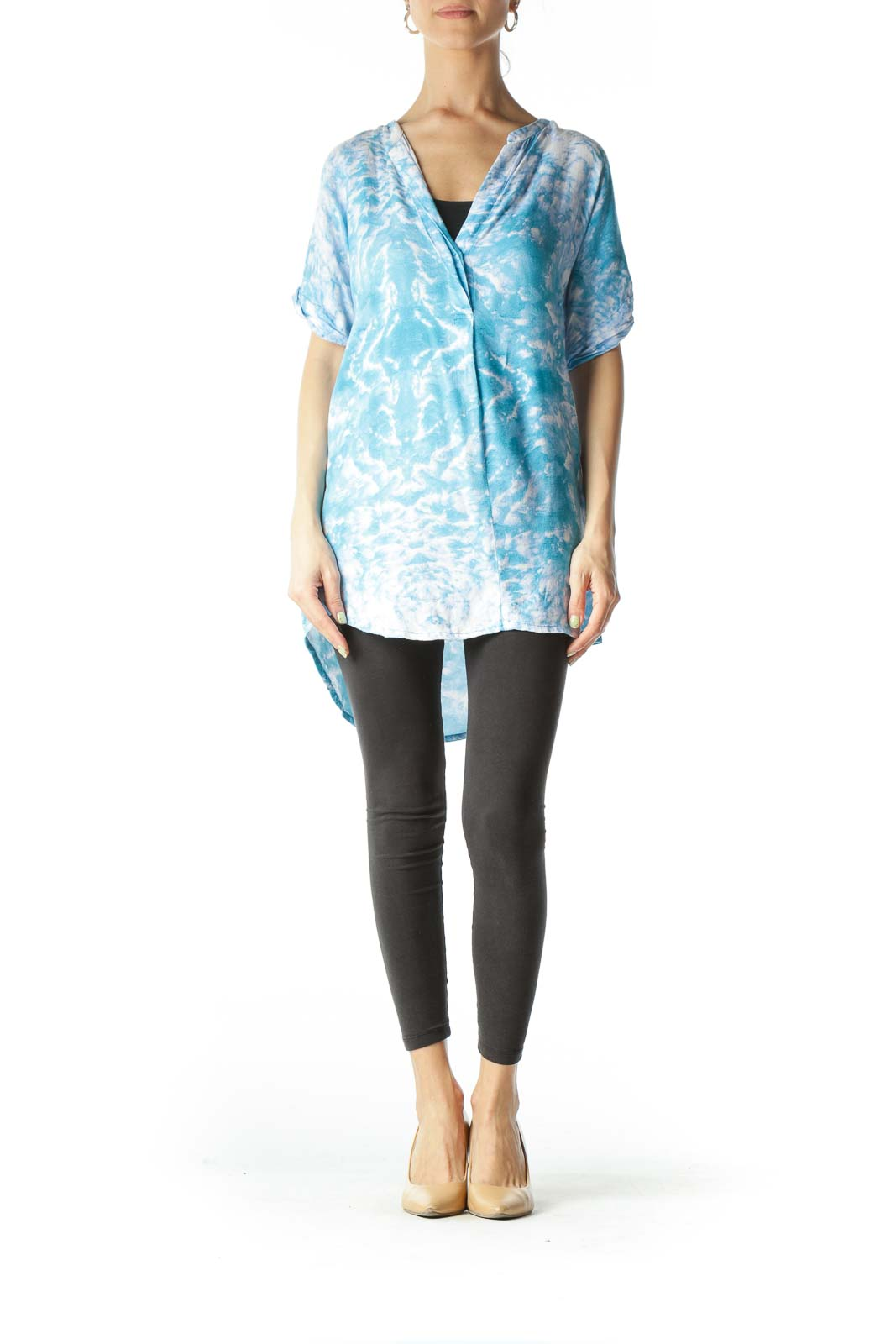 Blue and White Tie-Dye Patterned Asymmetrical-Fold Blouse