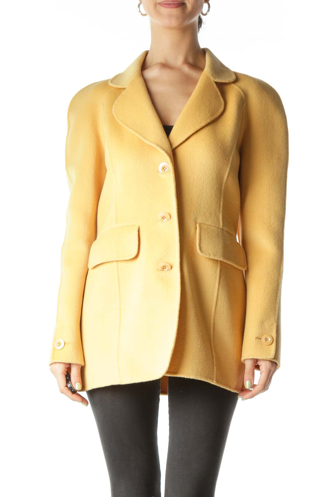 Yellow New Single Layer Wool Blend Coat