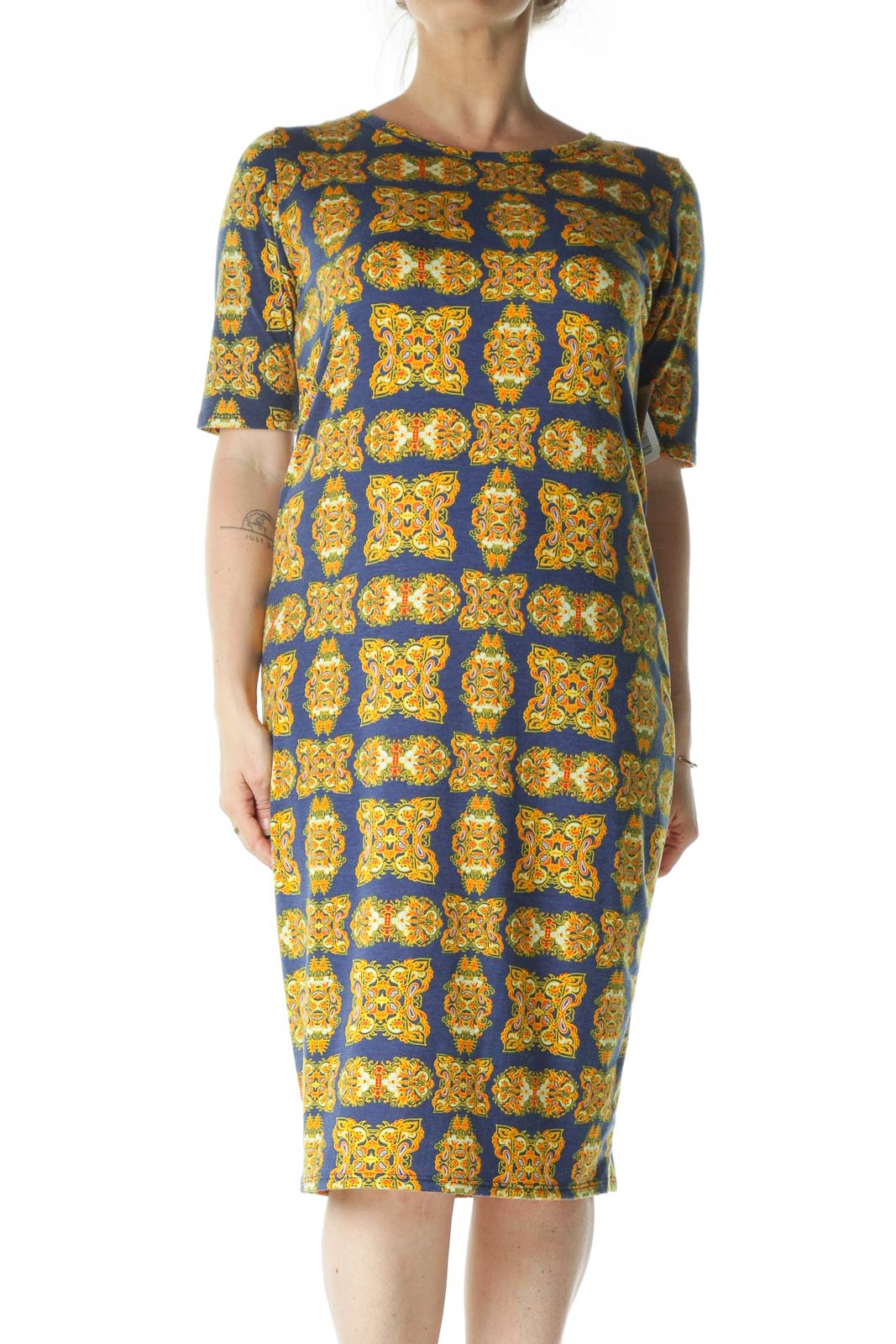 Blue and Yellow Printed Midi T-Shirt Dress