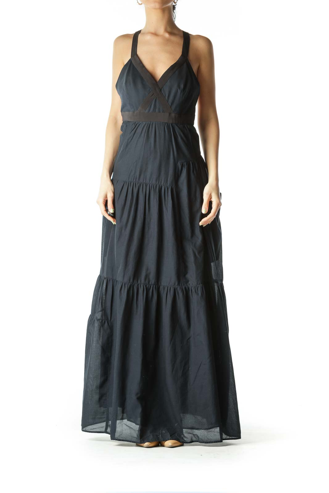 Black and Navy Blue Maxi Dress