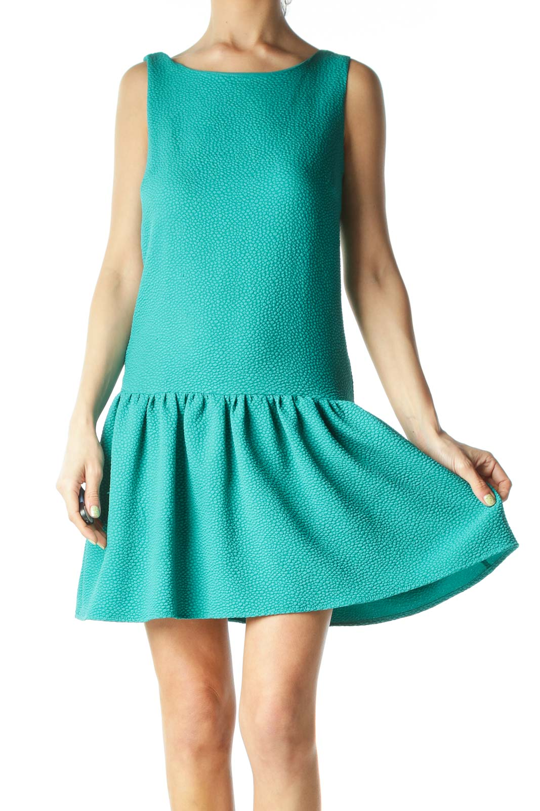 Green Textured Flared-Bottom Sleeveless Day Dress