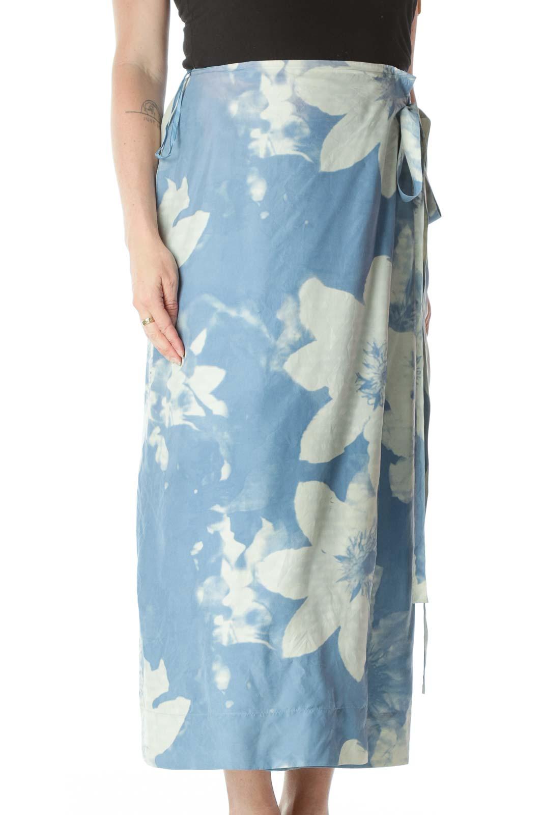 Blue Pattern Wrap Skirt