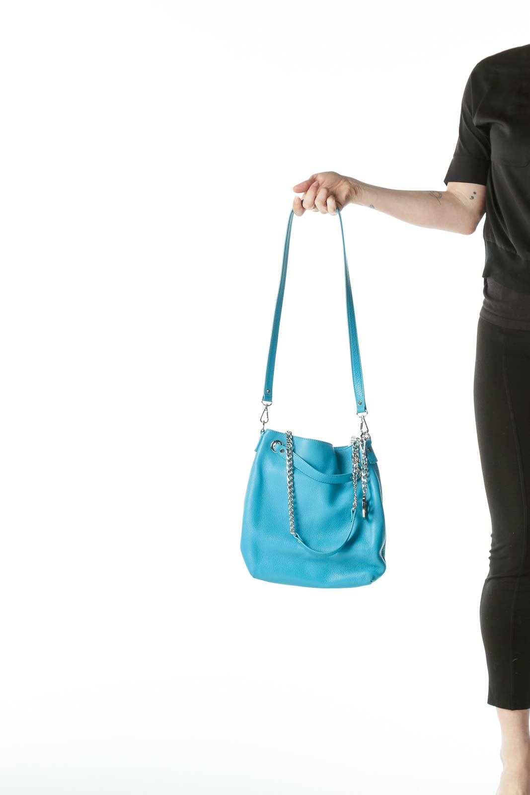 Teal Blue Shoulder Chain Bag