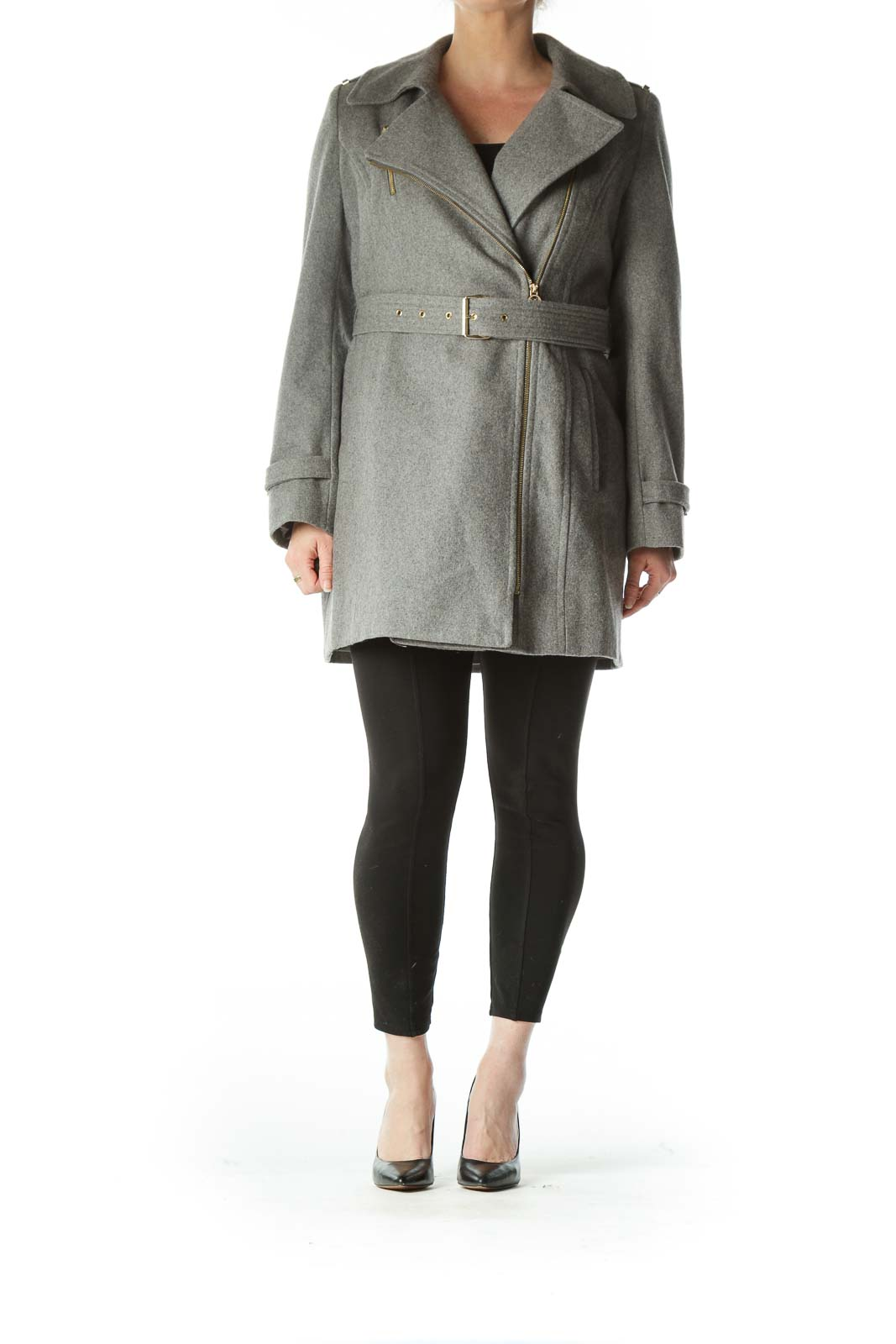 Gray Wool Belted Coat