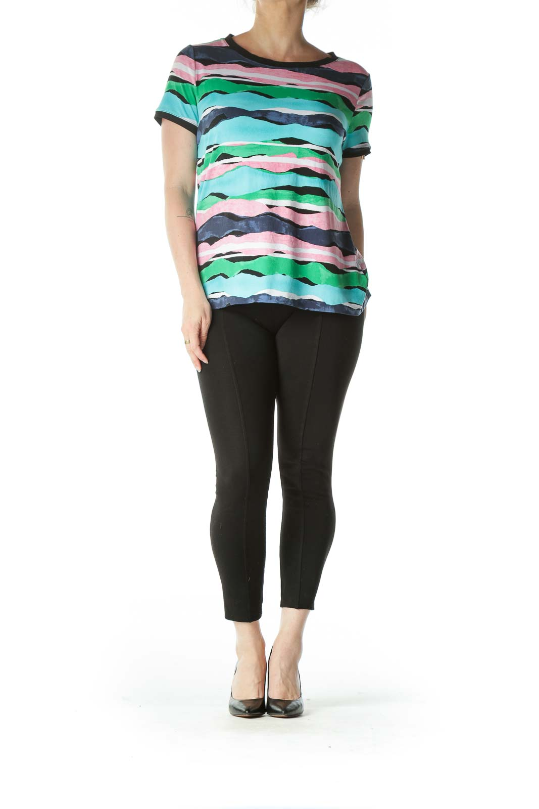 Multicolor Stretch Buttoned Print Shirt