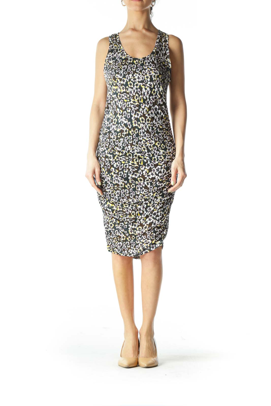 Black Floral Fitted Dress