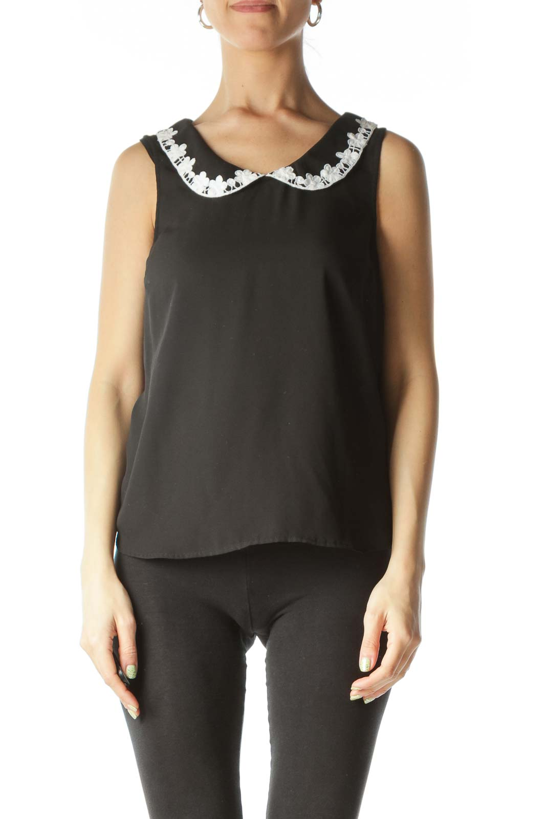 Black Collared Embellished Sheer Blouse