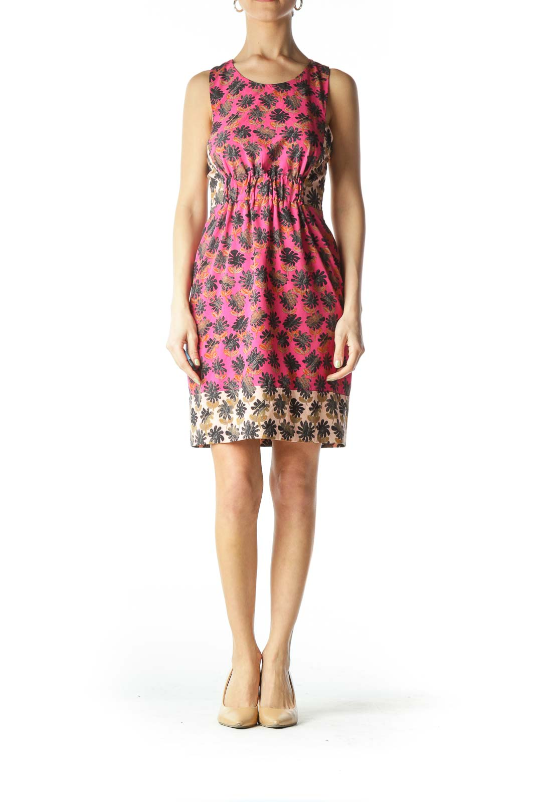 Pink Patterned Cinched Day Dress