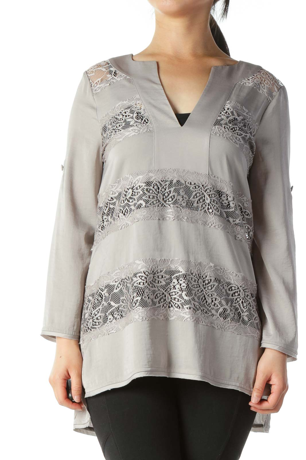Gray V-Neck Lace See-Trough Accents Blouse