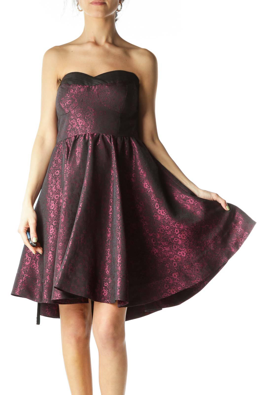 Red Strapless Floral Cocktail Dress