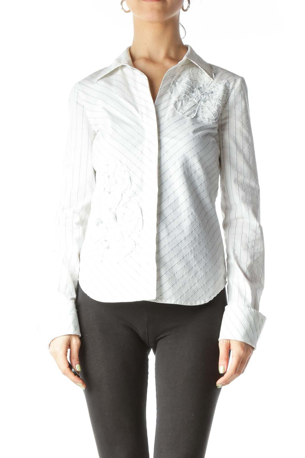 Cream Black Stitching Floral Textured Shirt