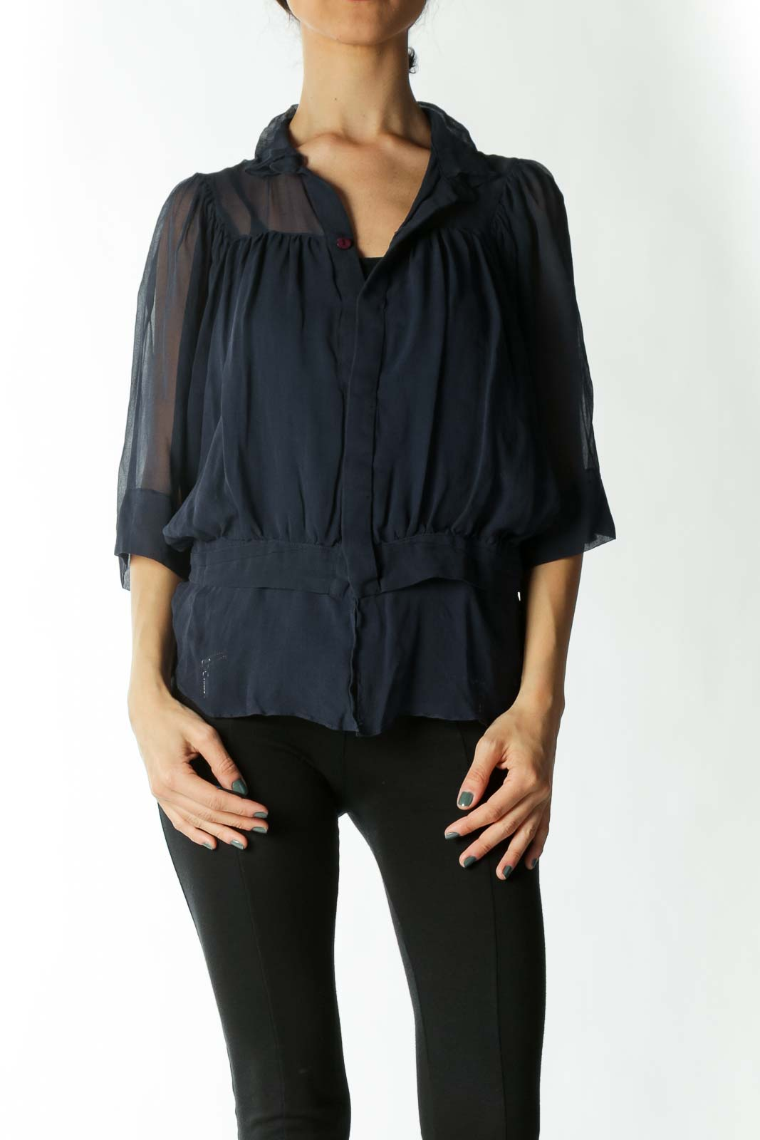 Navy Blue 100% Silk See-Through Flared Blouse