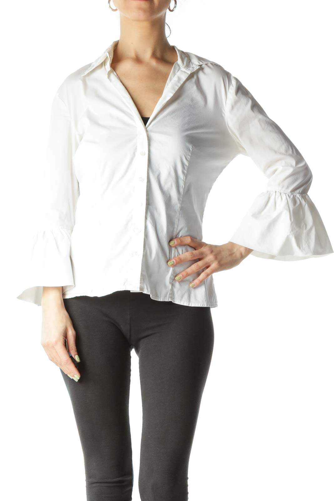 Cream V-Neck Bell-Shaped Sleeves Fitted Shirt