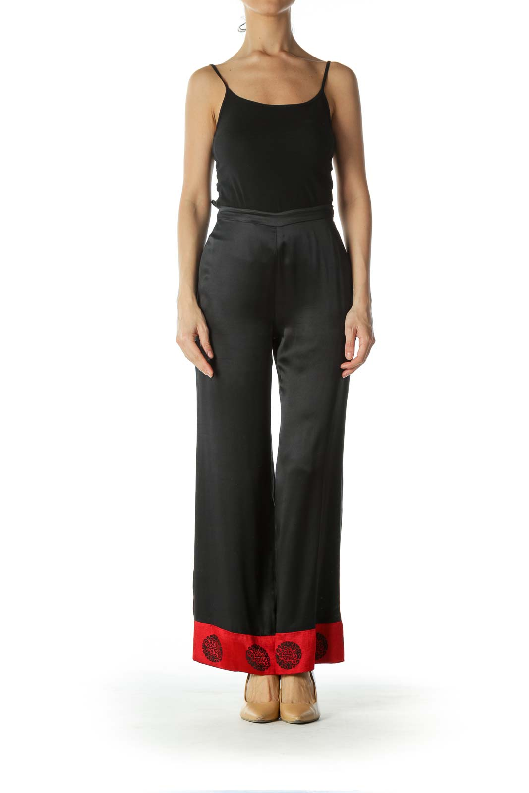 Black Red Jacquard Ankle Accents Light Silk Pants