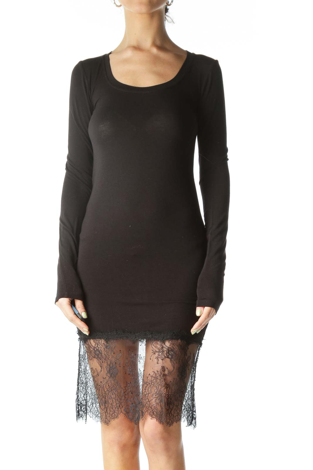 Black Stretch Long Sleeve Lace Detail Dress