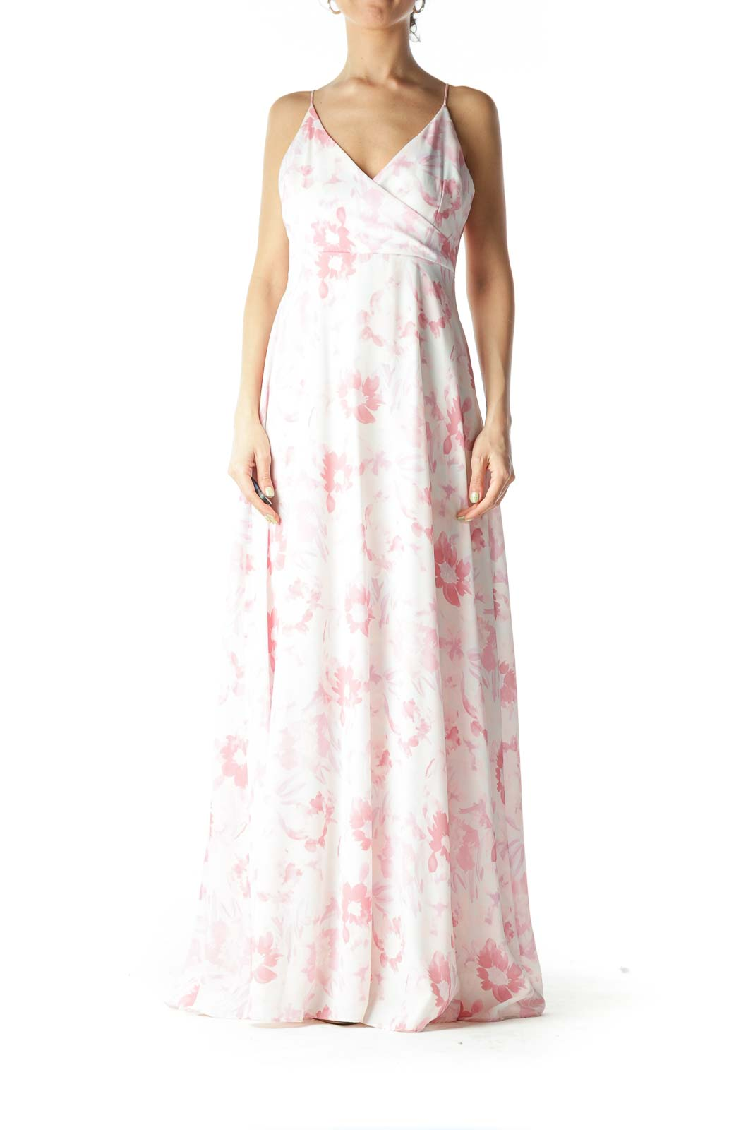 Pink Floral Maxi Sleeveless Dress