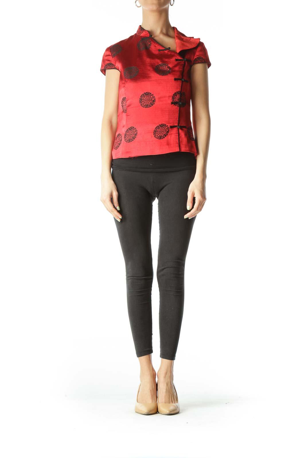Red Black Shiny Silk Jacquard Knit Qipao Top