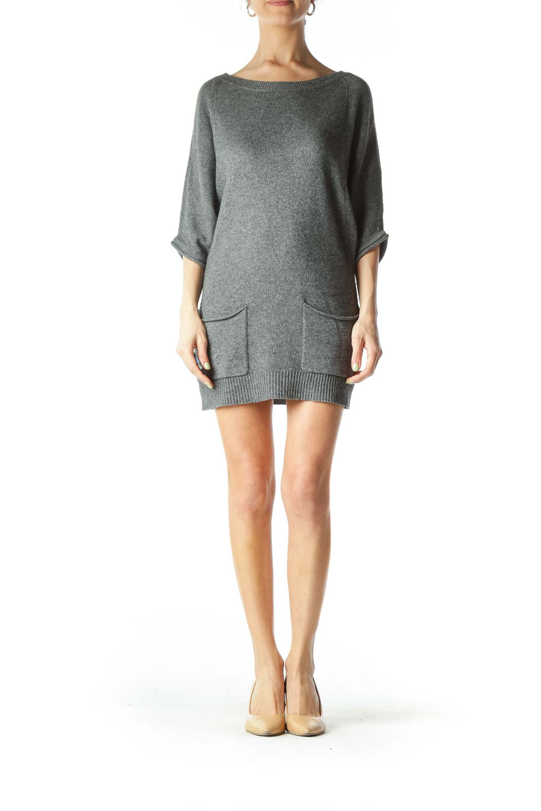 Gray Wool Cashmere Pocketed Long Knit Top