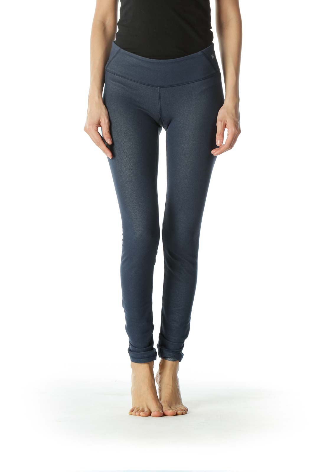 Dark Navy Blue Knit Stretch Leggings