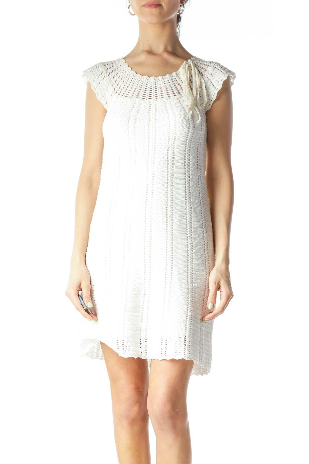 Cream Round Neck Crocheted Body Knit Dress