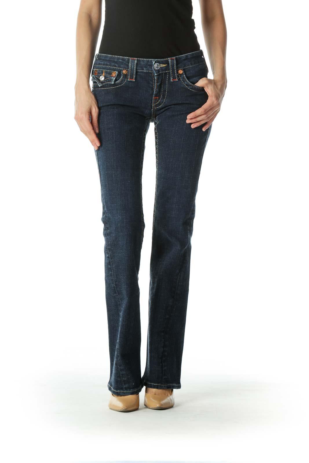 Blue Dark-Wash Low-Rise Denim Jeans