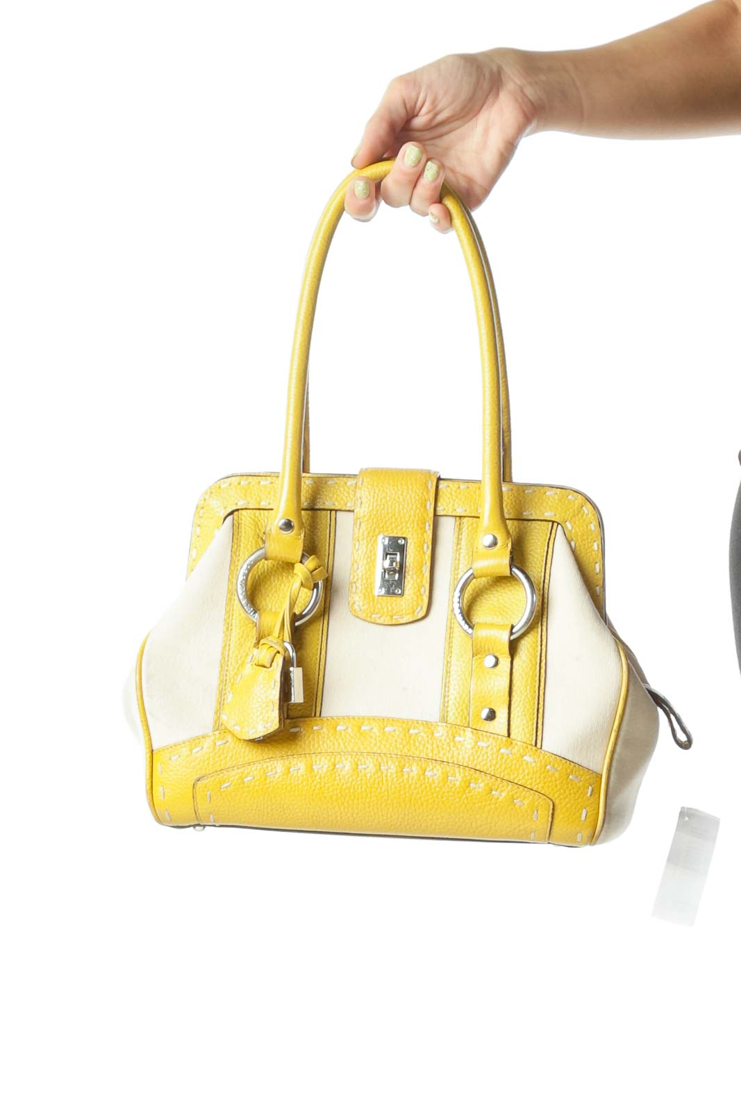Yellow Beige Textured Satchel with Handles