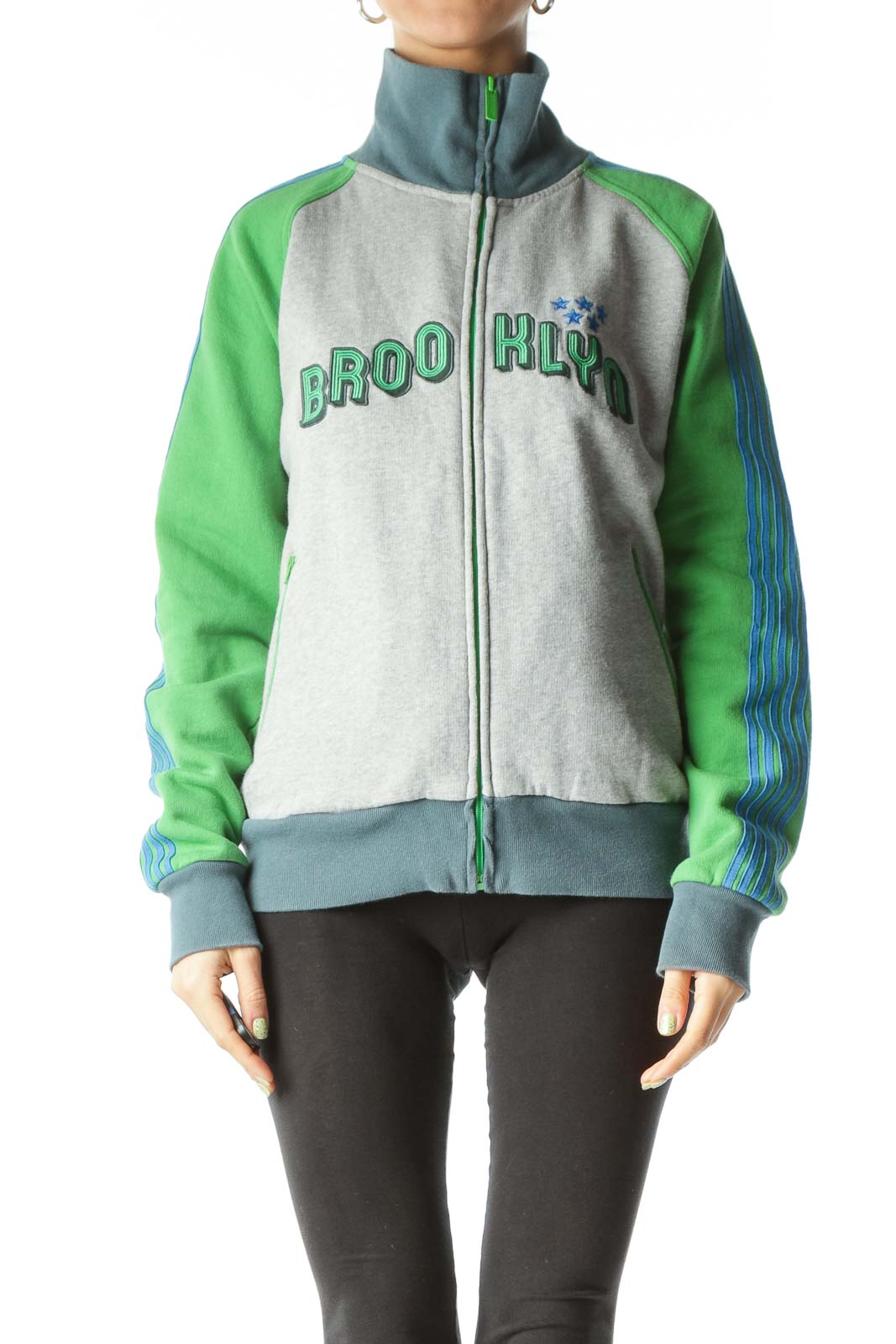Gray Blue Green Zippered Sweatshirt Jacket