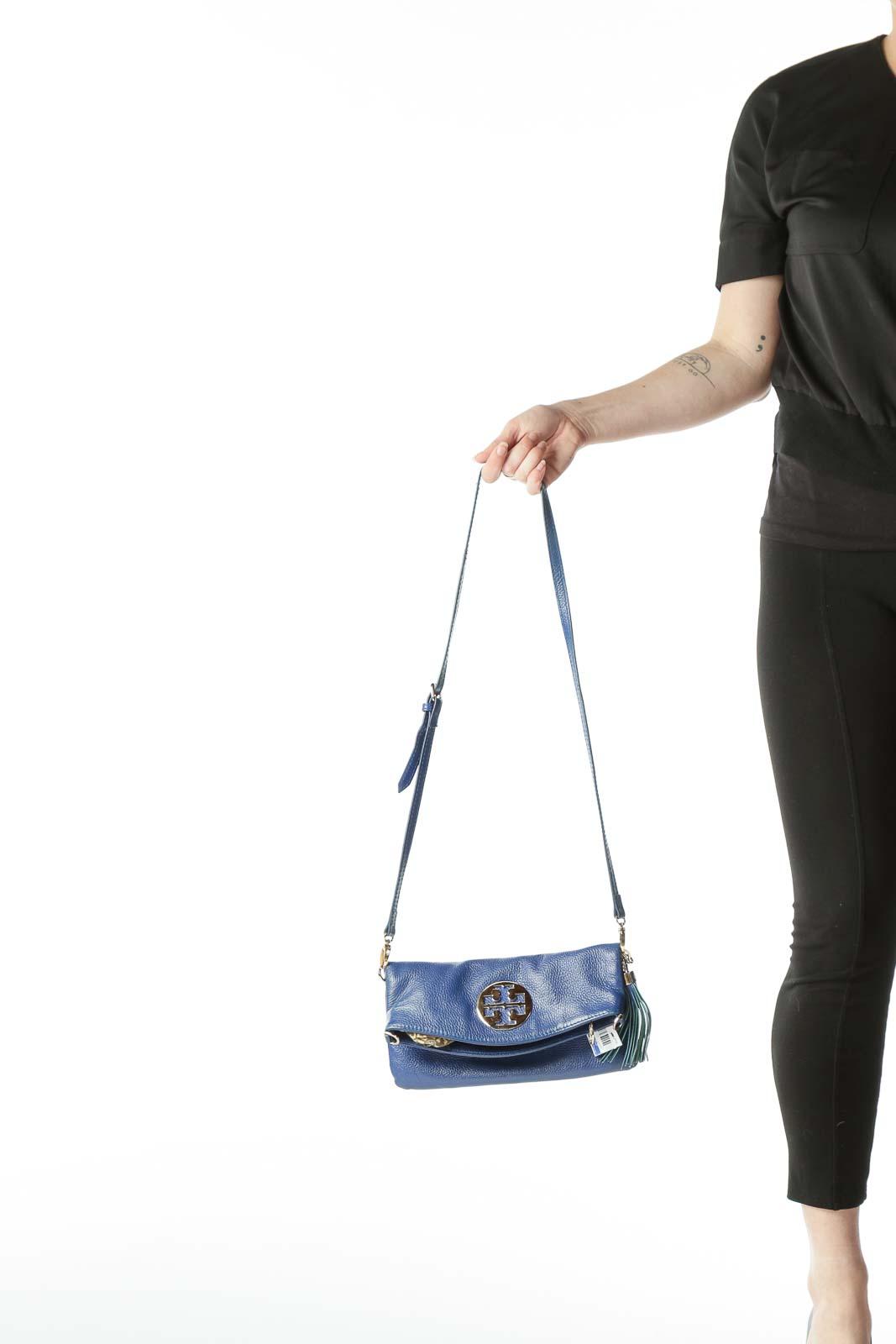 Blue Gold Hardware Details Crossbody Bag